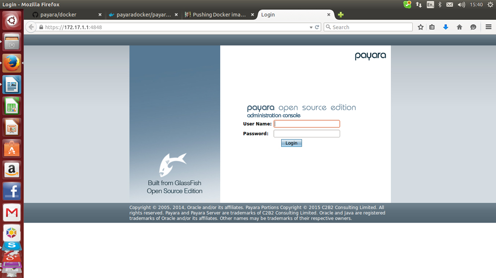 Payara DAS console login page