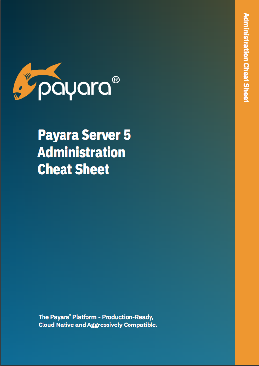 'Payara Server 5 Administration Cheat Sheet' front cover.