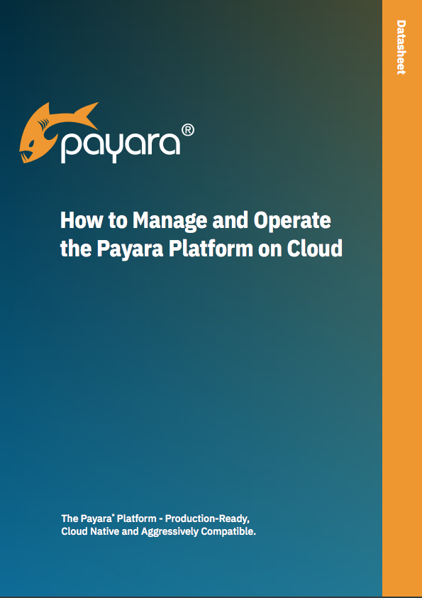 'How to Manage and Operate the Payara Platform on Cloud' datasheet front cover.