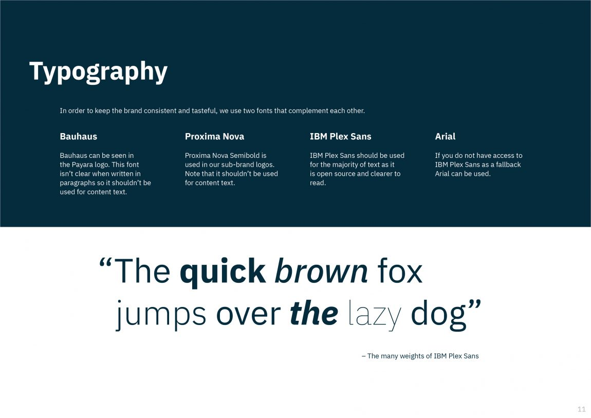 Payara Font Hierarchy overview