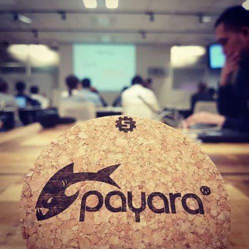 cork coaster with the Payara logo