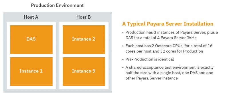 Image of a Production Environment diagram visualising 'A Typical Payara Server Installation'.